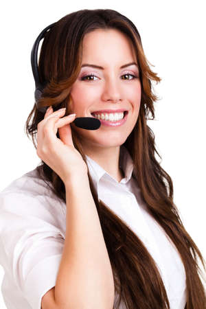 empty office: attractive woman with headset
