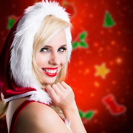miss: attractive smiling miss santa with christmas magic