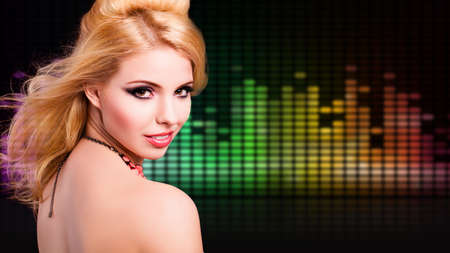 recedes: attractive girl listening to music
