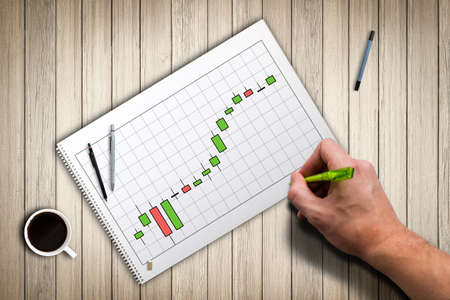 stock price: drawing of a stock price chart