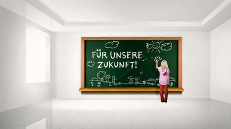 school board: young girl in front of a blackboard with the sentence For our future in German