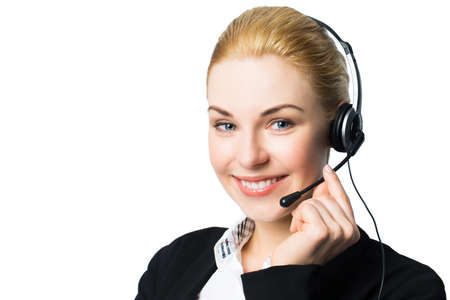assistant: attractive businesswoman with headset Stock Photo