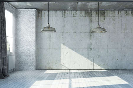 3D rendered empty apartment in industrial style