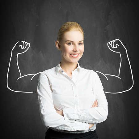 businesswoman with drawing symbolizing power Standard-Bild