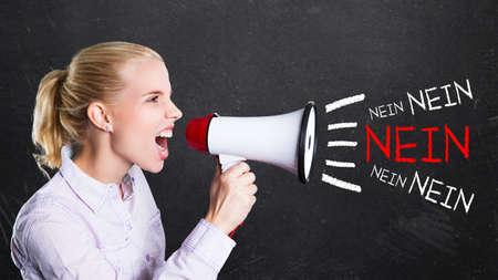 boycott: young woman shouting No! through a megaphone (in German)