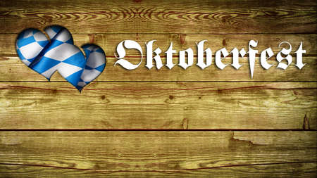 merrymaking: wooden Background with Oktoberfest Slogan and heart-shaped cutout Stock Photo