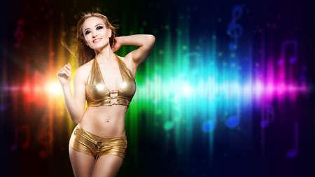 sexy woman disco: attractive woman in sexy clubwear