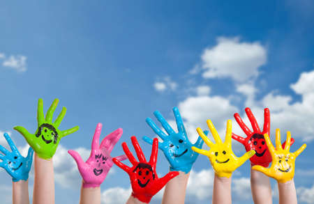 colorful paint: colorful painted hands
