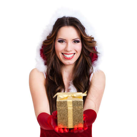miss: attractive miss santa with a gift box Stock Photo
