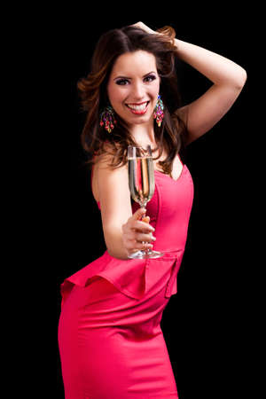 ravishing: young woman with sparkling wine