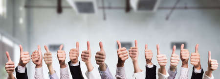 many thumbs up Stock Photo