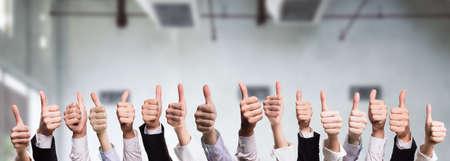 ratification: many thumbs up Stock Photo