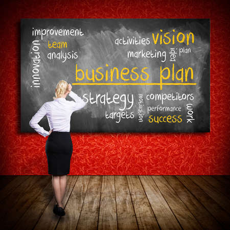 businessplan: businesswoman thinking about a business plan