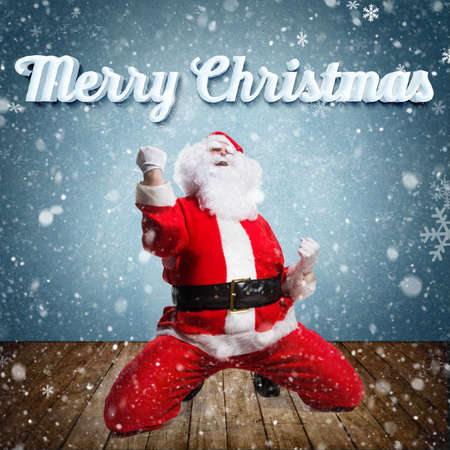 st  nick: Happy Santa Claus with Merry Christmas message