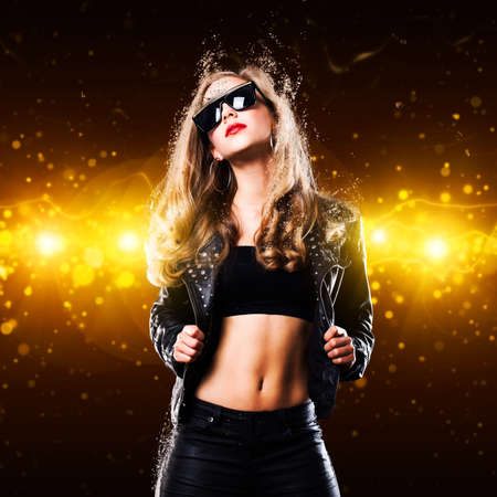 glam rock: young woman in front of a club background