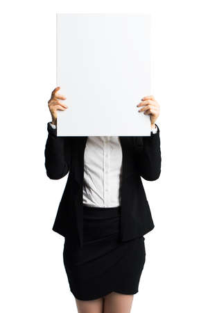 envisage: businesswoman holding a blank white card in front of her Stock Photo
