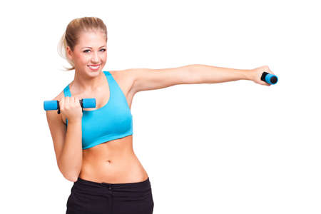 abdomen plano: Mujer rubia haciendo una sesión de ejercicios aeróbicos aislado en blanco