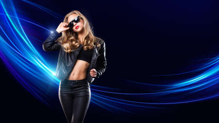 young woman in front of a club background Stock fotó