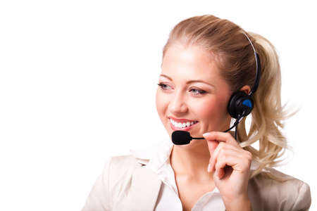 client service: attractive businesswoman with headset isolated on white