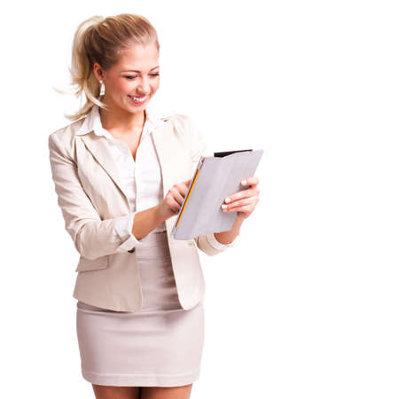 miniskirt: young businesswoman with a tablet computer isolated on white