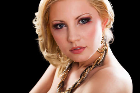 glamorous: attractive young blonde woman with glamorous look