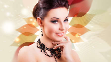 glamorous: attractive smiling woman with glamorous look