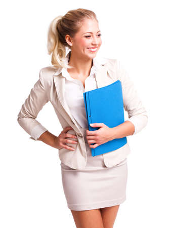 personal assistant: attractive blond businesswoman isolated on white