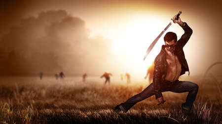 machete: scene like in a horror movie with a man holding a machete and a cigar, standing on a field with approaching zombies