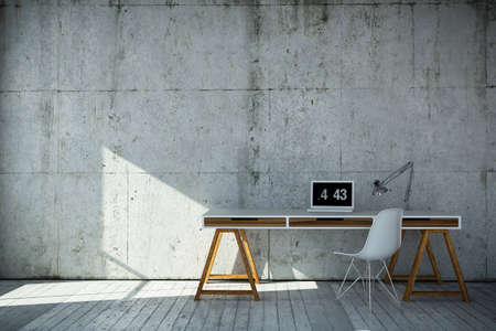 3D rendered industrial style workplace
