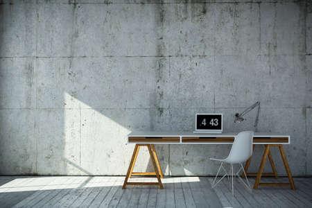 3D representa el lugar de trabajo de tipo industrial Foto de archivo - 58583210