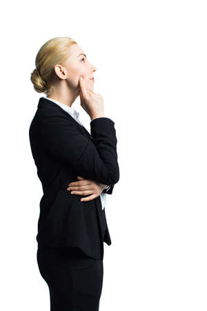 envisage: attractive businesswoman thinking about a problem