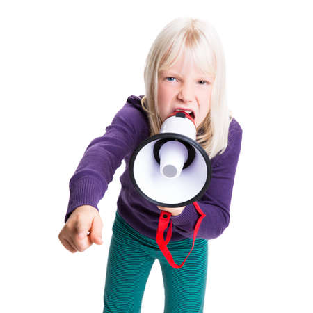 young girl with a megaphone isolated on white