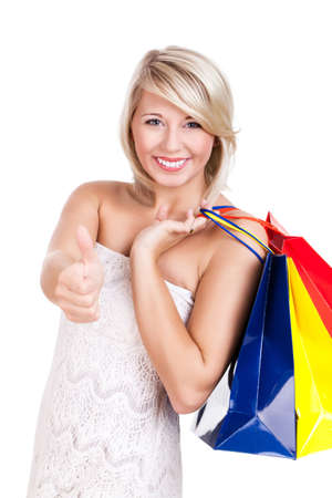 attractive girl with shopping bags isolated on white Stock Photo