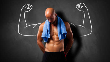 fitness gym: muscular man after workout