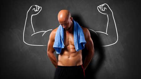 barechested: muscular man after workout
