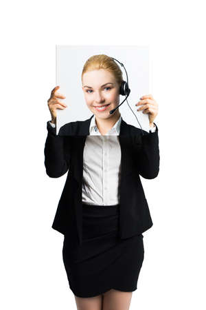 envisage: businesswoman holding a picture of herself, showing positive attitude as a facade
