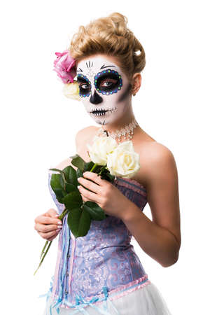 attractive woman with sugar skull make-up isolated on white
