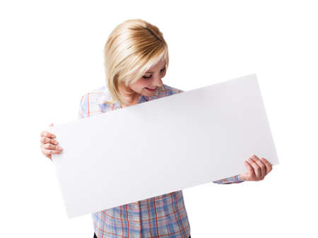 envisage: woman holding a blank white card in front of her Stock Photo