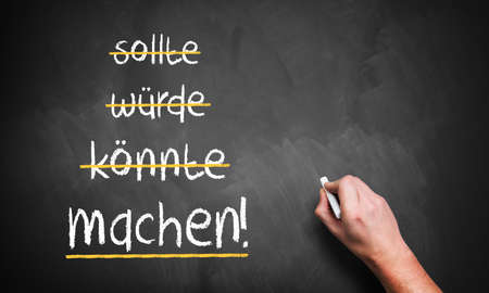 could: hand is stroking should, could, would and writes do! in German