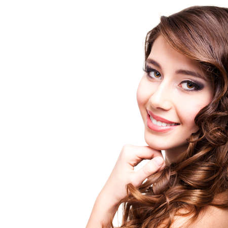 sultry: attractive smiling woman Stock Photo