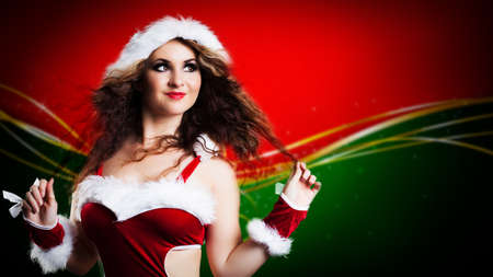 miss: attractive smiling miss santa Stock Photo