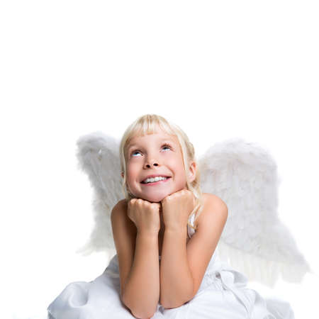 christmas costume: little girl dressed like an angel