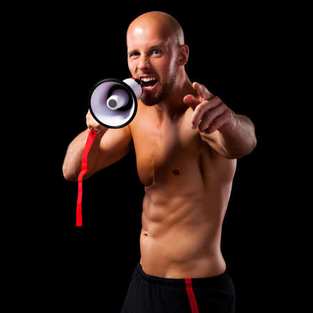 speaking tube: personal trainer with a megaphone
