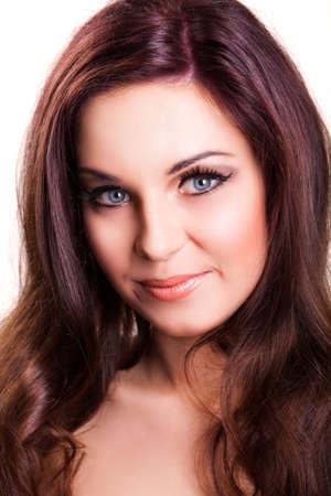 ojos azules: mujer sonriente atractiva Foto de archivo