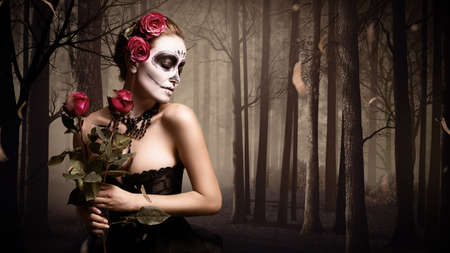 black and red: attractive woman with sugar skull make-up