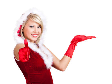 saleslady: attractive blond miss santa with thumb up gesture isolated on white