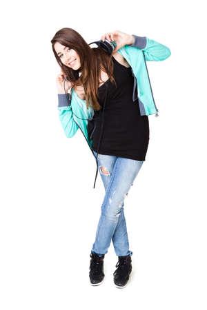 smiling girl listening to music Stock Photo