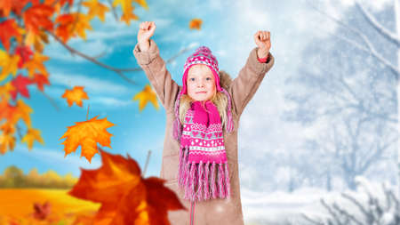 young girl in front of a changing season background