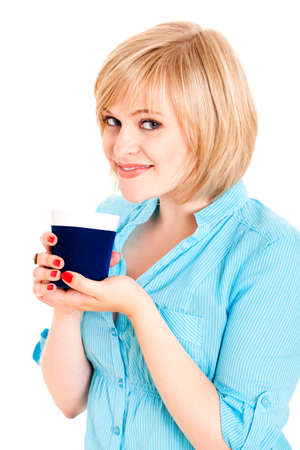 energising: young blond woman with a beverage Stock Photo
