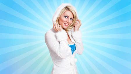 romper: attractive woman in winter clothes Stock Photo